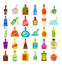 alcohol bottle icon set cartoon style vector image