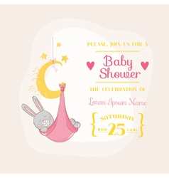 Baby Girl Shower or Arrival Card - with Baby Bunny vector image