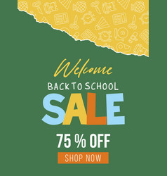 back to school school supplies sale poster vector image