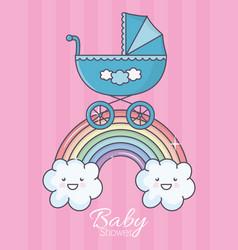 bashower blue pram rainbow clouds stripes vector image