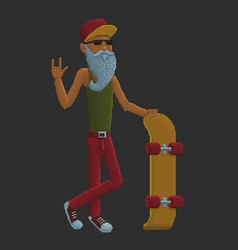 Bearded old man with skateboard vector