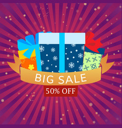 big sale with colorful wrapped gift boxes on retro vector image