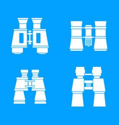binoculars icon blue set vector image