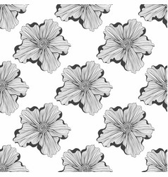 Black and white pattern with flowers seamless vector
