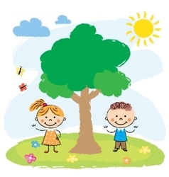 Boy and girl near big tree vector
