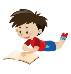 Boy in red shirt reading book vector