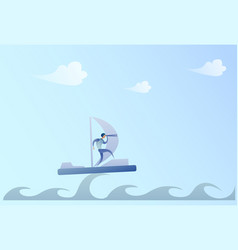 Business man sailing on boat looking with vector