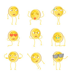 cartoon characters funny golden coins set vector image