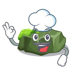 Chef cartoon moss grow on sea rock vector