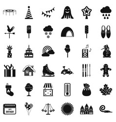 children carousel icons set simple style vector image