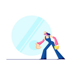 cleaning service female character wearing blue vector image