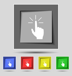 Click here hand icon sign on the original five vector image