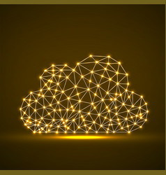 cloud glowing lines and dots abstract vector image