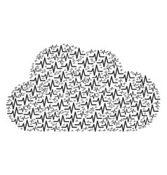 cloud mosaic of pulse icons vector image