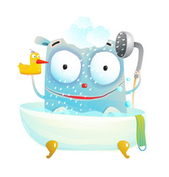 Cute bathing monster with duck vector