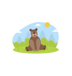 Cute brown bear wild forest animal on summer vector