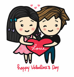 cute couple in love holding heart happy valentine vector image