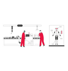Cyborg creating process in laboratory engineers vector
