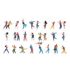 Dancing pairs people dance alone couples having vector