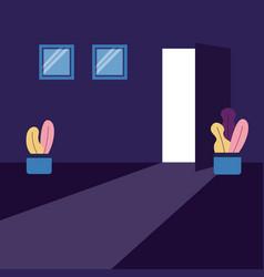dark room door window plants vector image