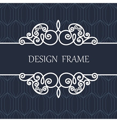 Decorative Line Label with Ornament vector image