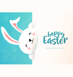 easter card with white cute funny smiling rabbit vector image