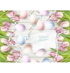 Easter eggs on wooden background EPS 10 vector image