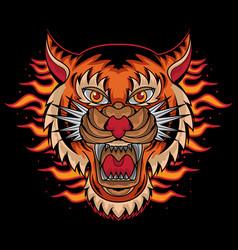 Fire tiger head tattoo vector