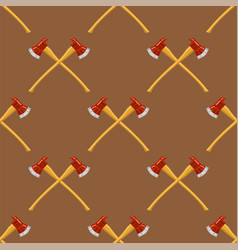 firefighter cross axes seamless pattern vector image