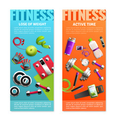 fitness gym vertical banners set vector image