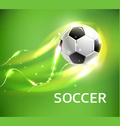 flaming football or soccer ball flying with fire vector image