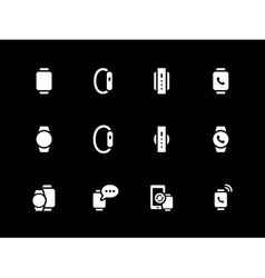 Flat classic smart watch icons on black background vector image
