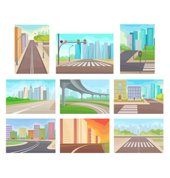 flat set of urban landscapes with roads and vector image