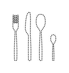 fork spoon and knife sign black dashed vector image