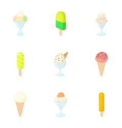 Frosty sweetness icons set cartoon style vector