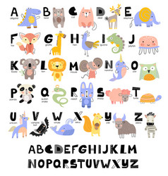 Funny alphabet for young children with names vector