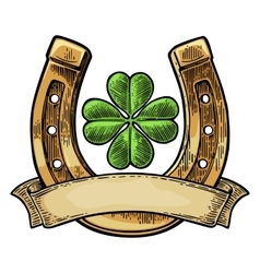 Good luck four leaf clover and horseshoe vector