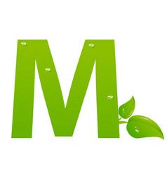 green eco letter m illiustration vector image