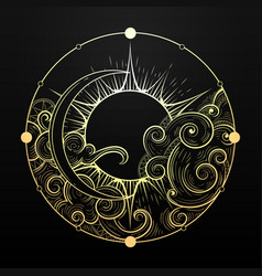 Hand drawn golden sun and moon with cloud vector