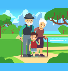Happy cartoon older couple with grandson in park vector
