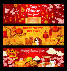 happy chinese dog new year greeting banners vector image