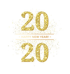 Happy new year glitter gold confetti or vector
