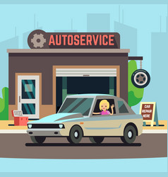 Happy woman driver on car service station vector