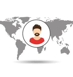 Hipster man social media world map vector