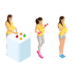 isometry of pregnant girls in different situations vector image