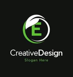 Letter e circle leaf creative business logo vector