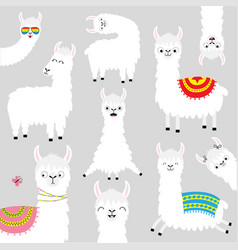 Llama alpaca set face glassess cute cartoon funny vector