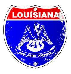Louisiana flag icons as interstate sign vector