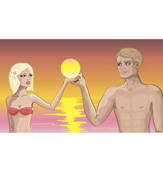 love on the beach vector image