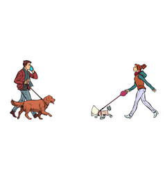 man and woman walking with dogs vector image